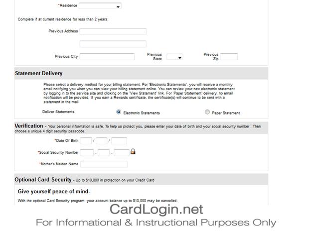 TJ Maxx Credit Card Application , Verification Details