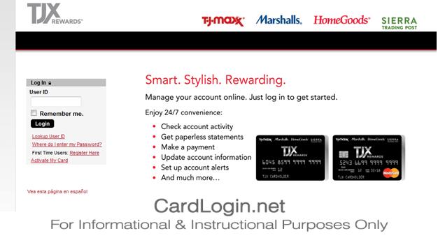 TJ Maxx Credit Card Login Page