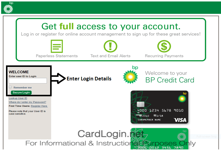 BP Visa Credit Card Login