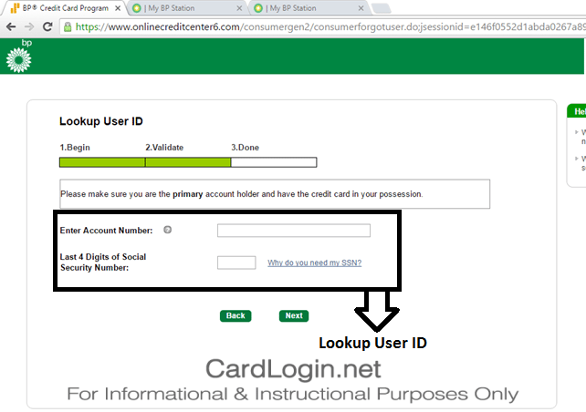 BP Visa Credit Card - Lookup User ID and Reset Password