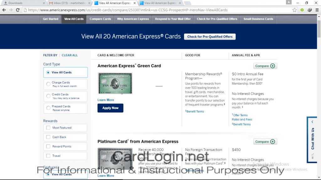Amerian Express - Choose a Credit Card