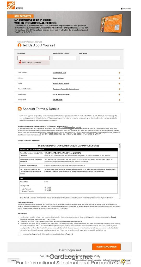 Home Depot Consumer Credit Card Onlne Application