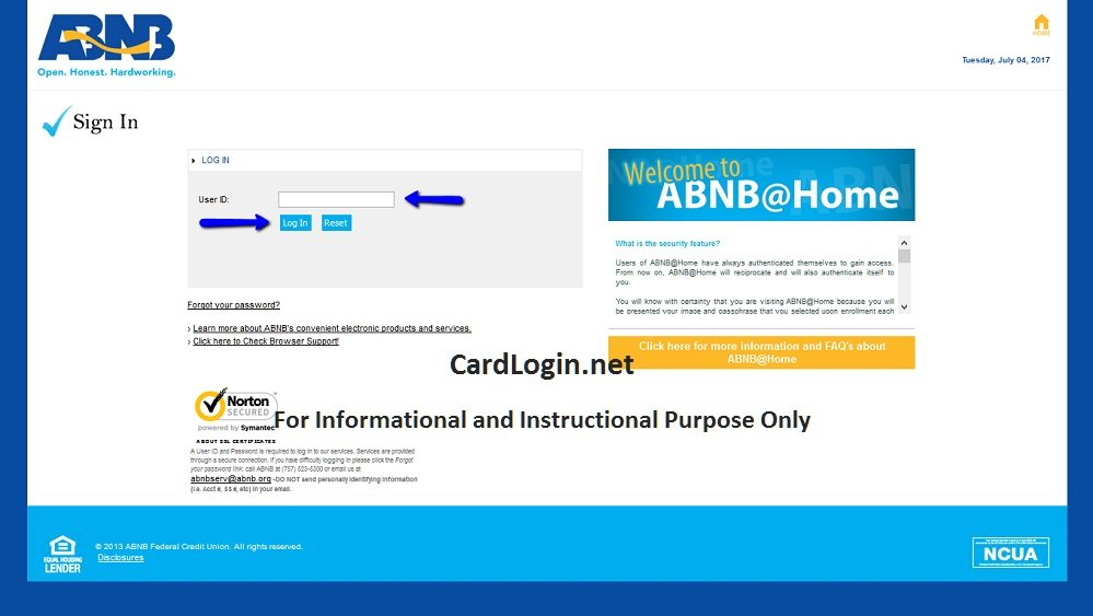 ABNB Visa Platinum Rewards Credit Card Login