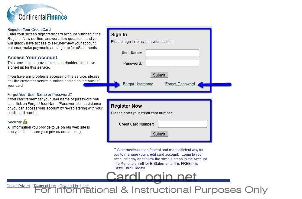 Continental_Finance_Reflex_MasterCard®_Credit_Card_Login