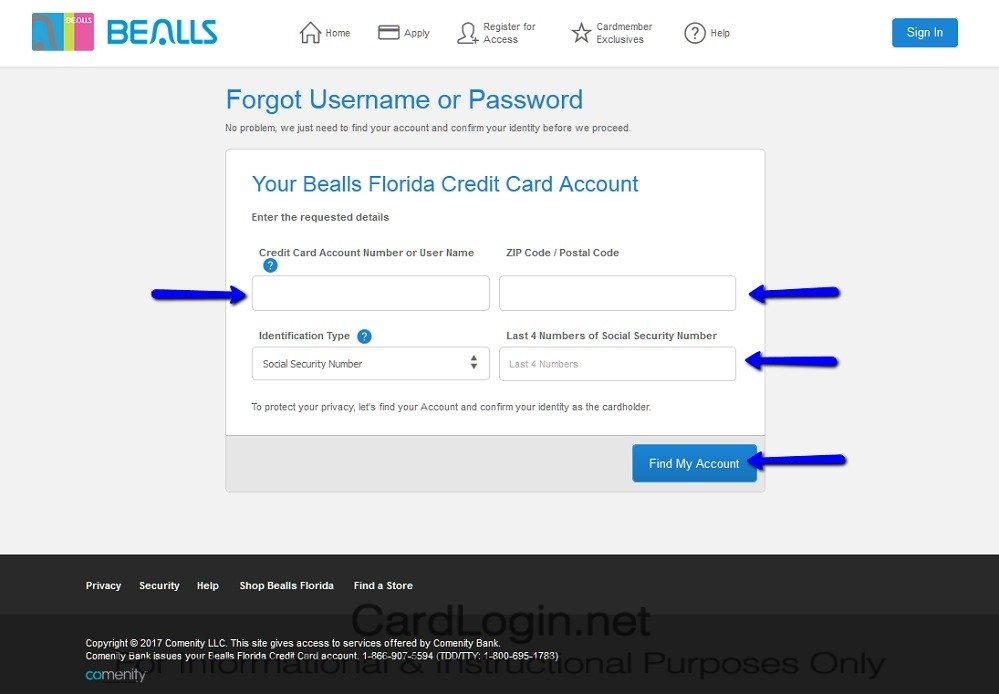 Forgot_Your_Bealls_Florida_Credit_Card_User_ID_Or_Password