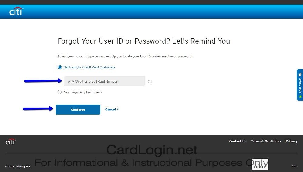 Forgot_Your_Citi ThankYou® Premier Card_User_ID_Or_Password