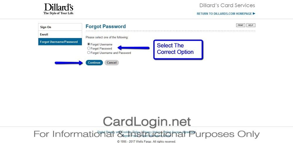 Forgot_Your_Dillard's_Credit_Card_Password_User_ID_Step_1