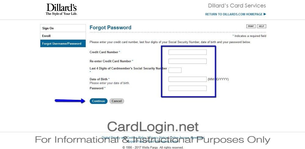 Forgot_Your_Dillard's_Credit_Card_Password_User_ID_Step_2