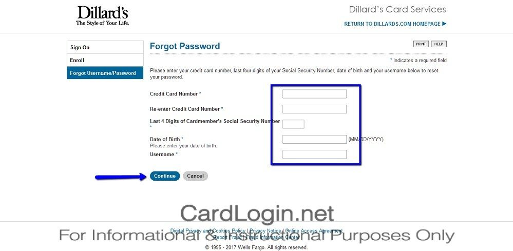 Forgot_Your_Dillard's_Credit_Card_Password_User_ID_Step_3