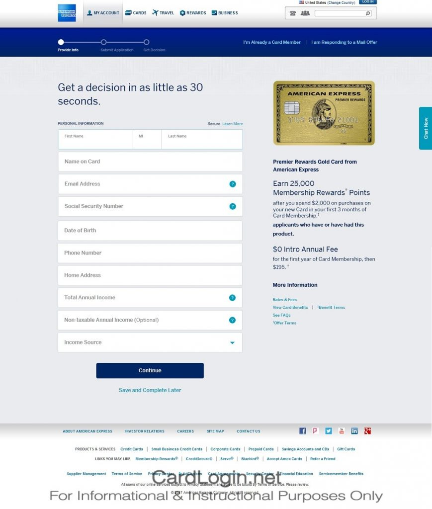 How To Apply For Amex Premier Rewards Gold Credit Card Step 1