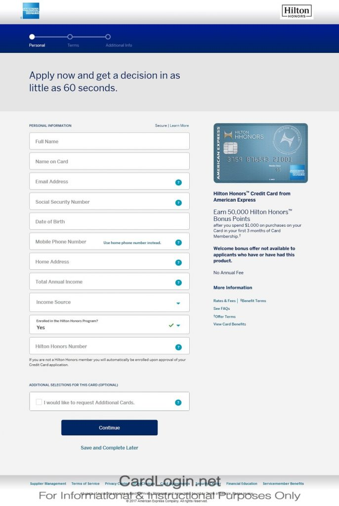 How To Apply For Hilton Honors American Express Credit Card