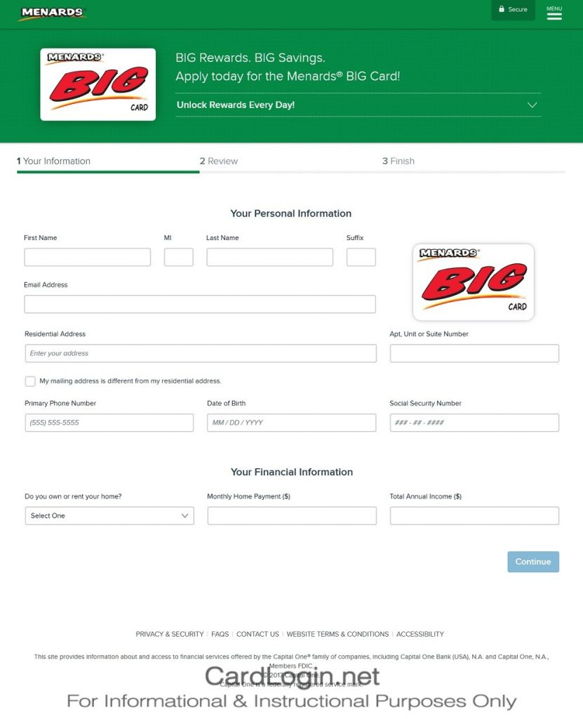 How To Apply For Menards BIG Card Step 1