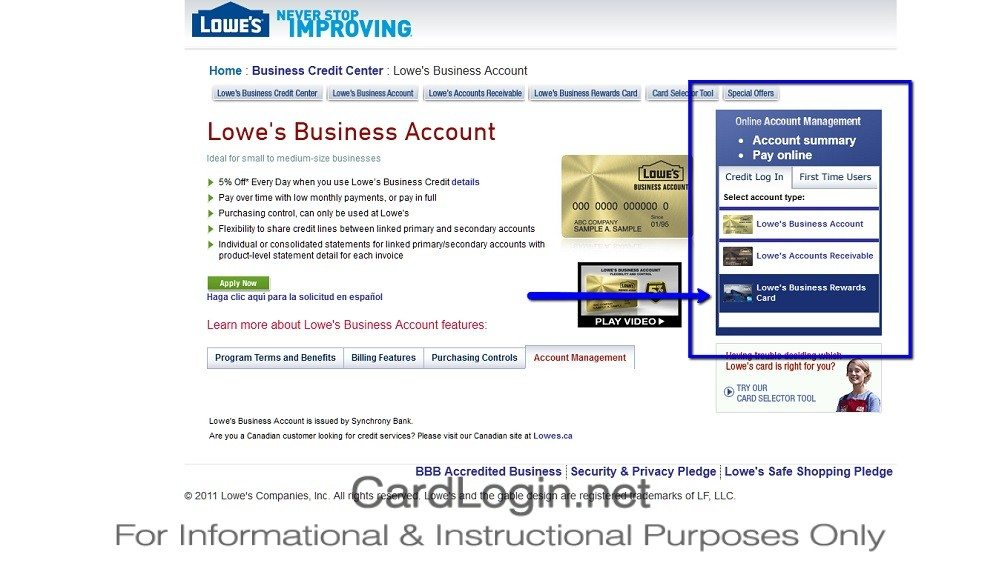 Lowe's_Business_Rewards_Credit_Card_Login_Step_1